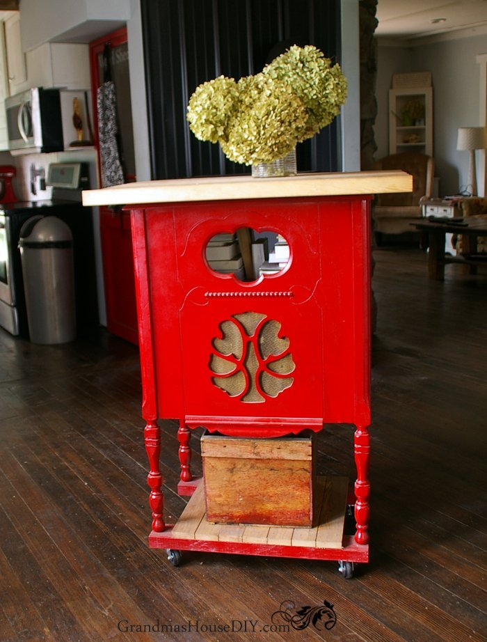 kitchen-island-painted-red-diy-wood-working-radio-cabinet