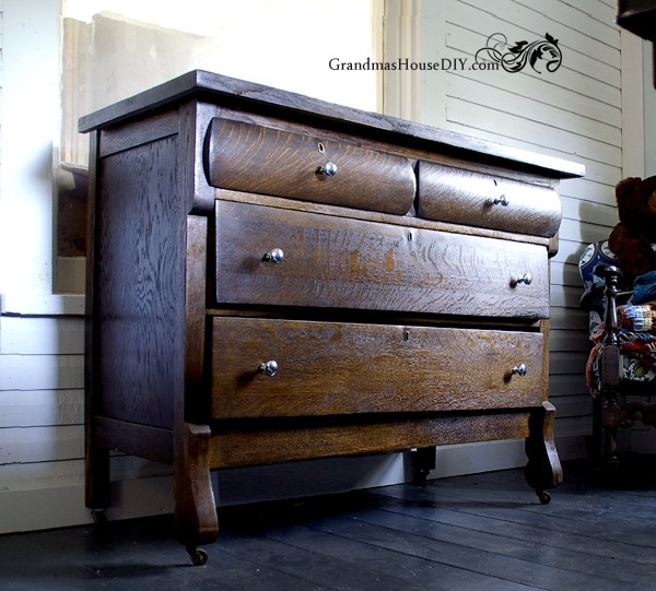 Before and after of an old maple dresser stripped and stained in black @GrandmasHousDIY