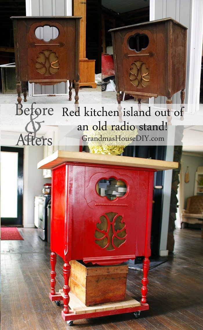 Red Kitchen Island Built Out Of An Old Radio Stand With