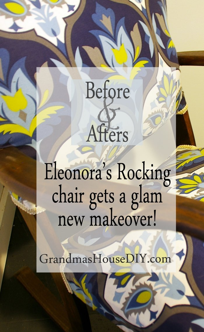 Eleonora's grandma's ornate old antique rocking chair gets a complete makeover with sanding new stain refinish refinished before and afters diy new fabric