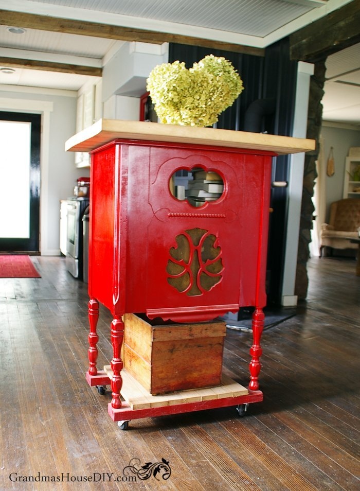 red kitchen island built out of an old radio stand with. Black Bedroom Furniture Sets. Home Design Ideas