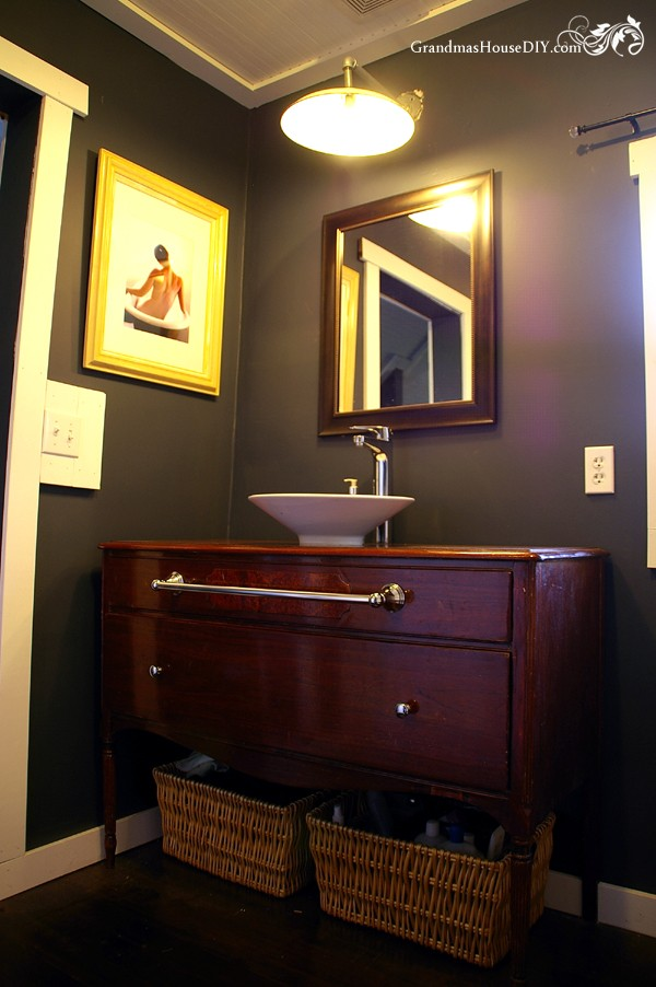 Before and after how to convert a buffet into a master bathroom vanity @GrandmasHousDIY