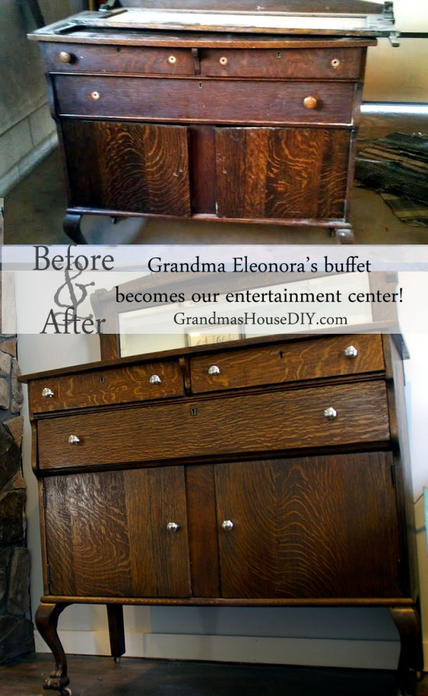My Grandma Eleonora's beautiful buffet gets refinished to become our entertainment center, furniture before and after @GrandmasHousDIY