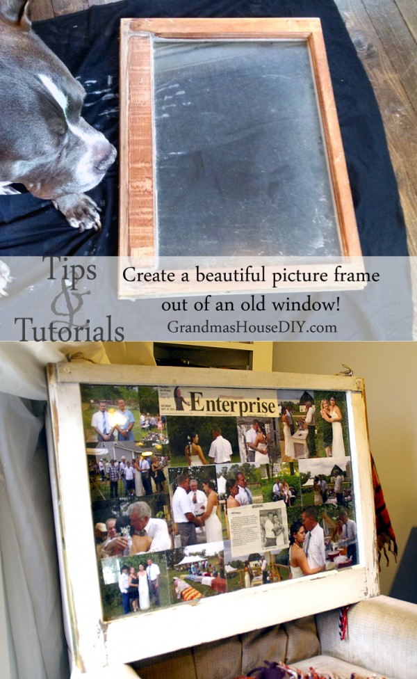 How to create a picture frame out of an old window. DIY upcycling old windows into picture frames! @GrandmasHousDIY