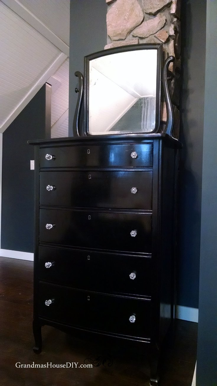 An Old Refinished Dresser Goes Hollywood Glam With Black Paint