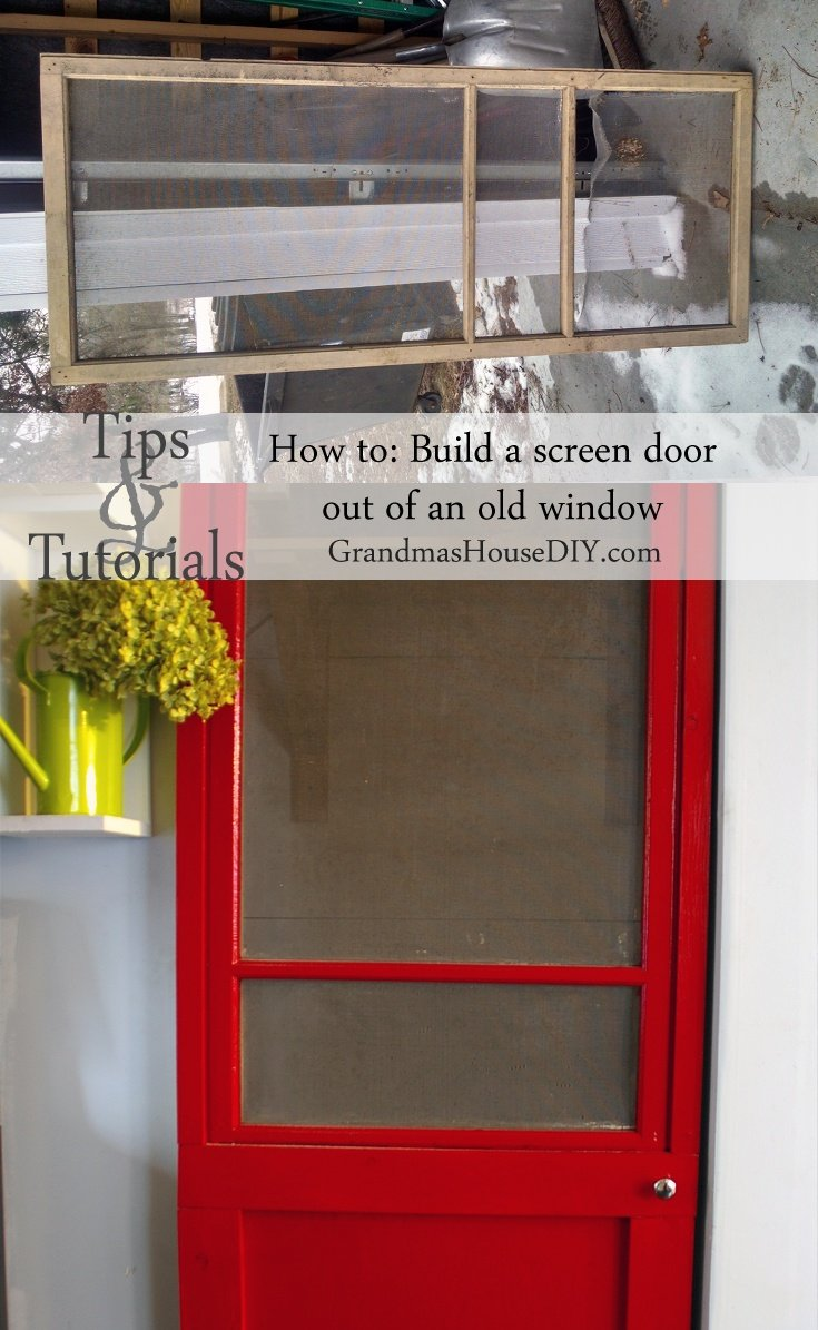 how to build a red screen door out of an old window tutorial. Black Bedroom Furniture Sets. Home Design Ideas