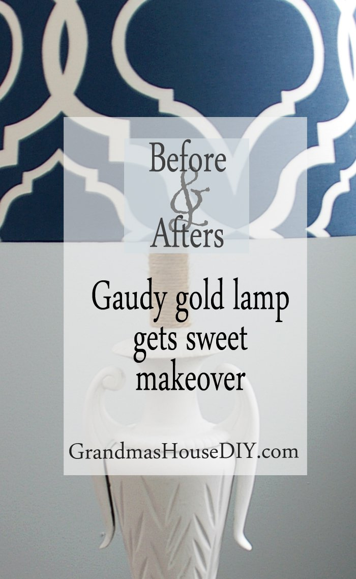 Gaudy gold lamp gets white flat paint and wrapped twine for a makeover with a new blue shade, diy, do it yourself, crafts, lamp before and after