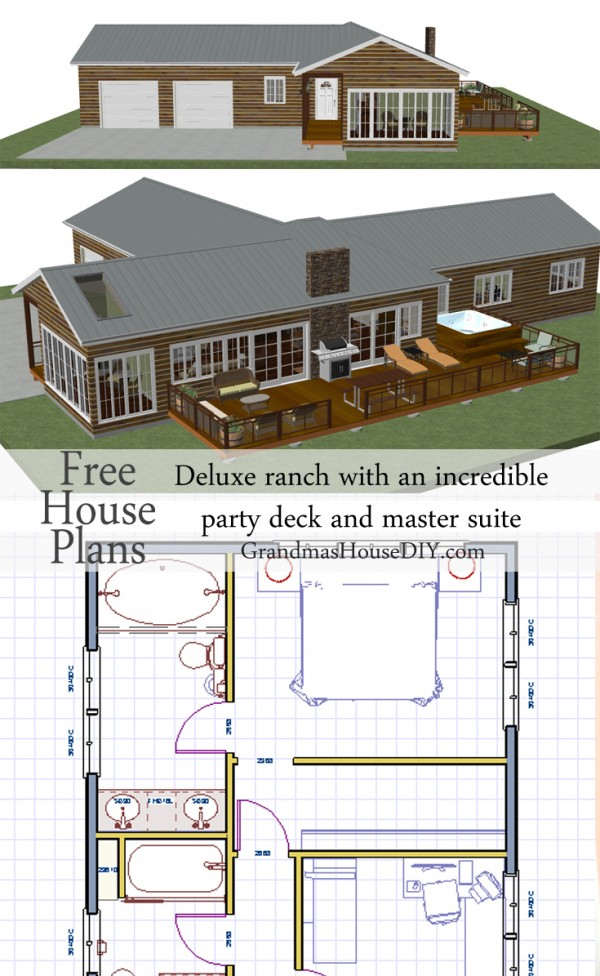 Free house plan deluxe ranch with an incredible party deck for Incredible house plans