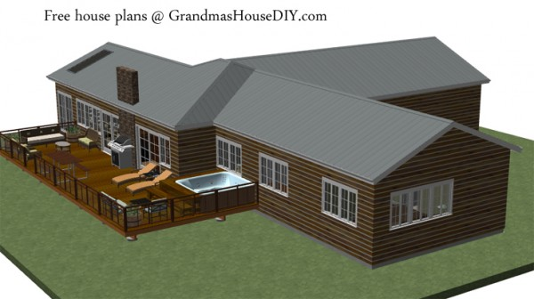 Free house plan of a three bedroom ranch style house with a party deck and master suite
