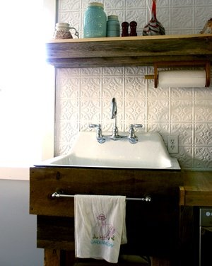 Rustic kitchen sink base DIY out of barnwood for an old cast iron sink