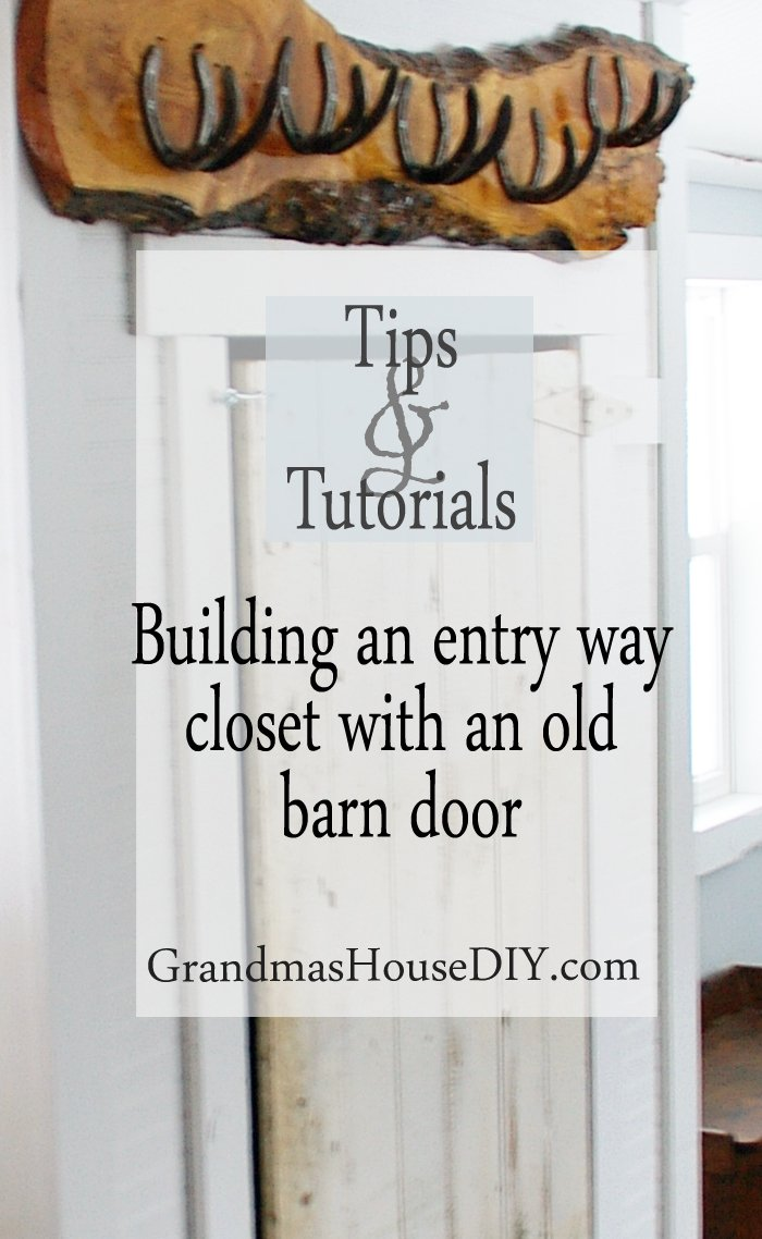 How to build a closet using bed board and an old barn door in your entry way to cover up an electrical panel, wood working, do it yourself, diy, tutorial