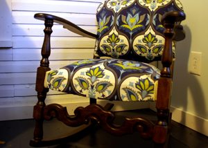 New upholstered rocking chair after refinishing the wood with stain and finish