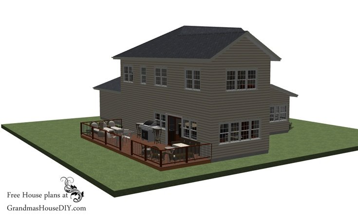 Free house plans of a two story open concept country style with three bedrooms and two and a half bathrooms.