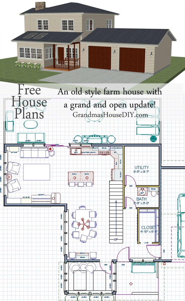 Free house plan an old style farm house with a grand and for Free farmhouse plans