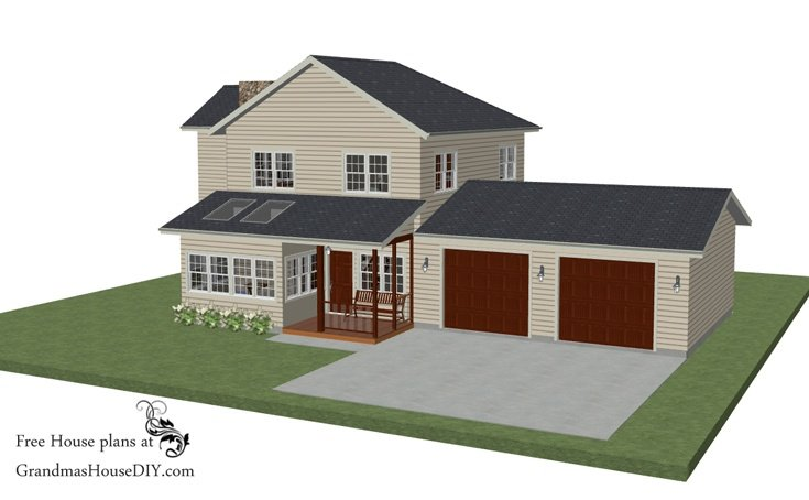 Free house plan an old style farm house with a grand and open update grandmas house diy - Build house plans online free concept ...
