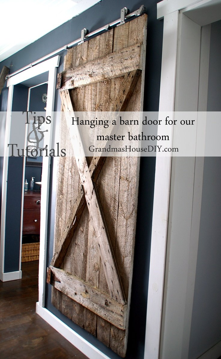 Tip And Tutorial On How To Install A Hanging Barn Door On Our Master  Bathroom ...