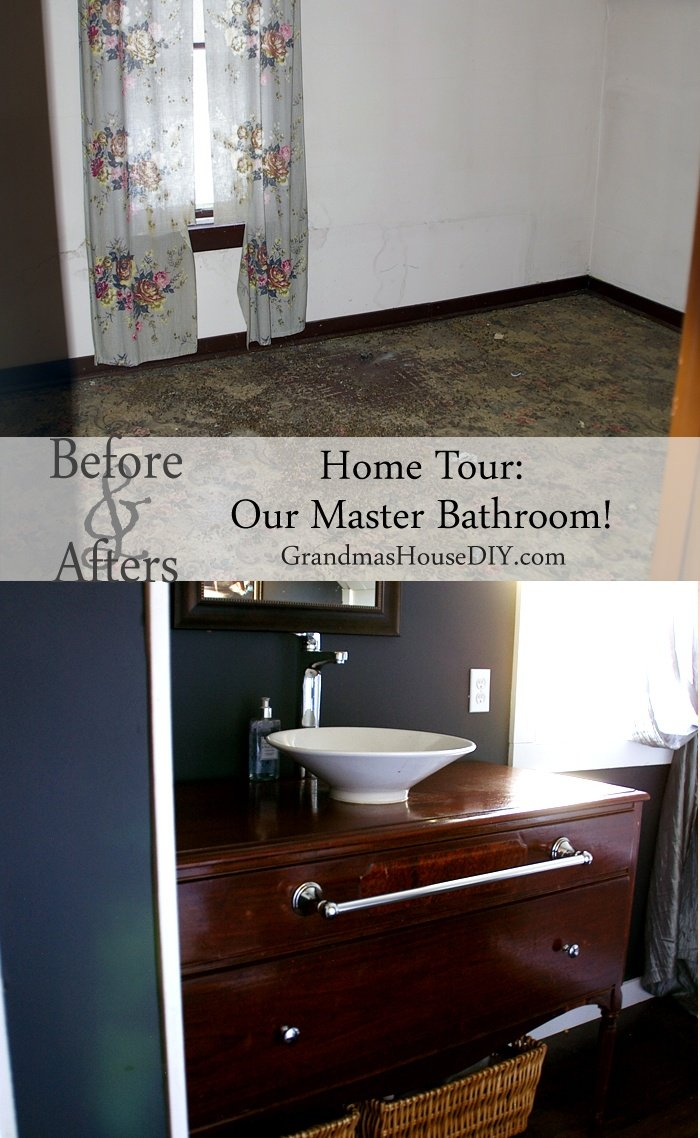 The final reveal of our master bathroom with double slipper bathtub, buffet vanity and dark hardwood floors