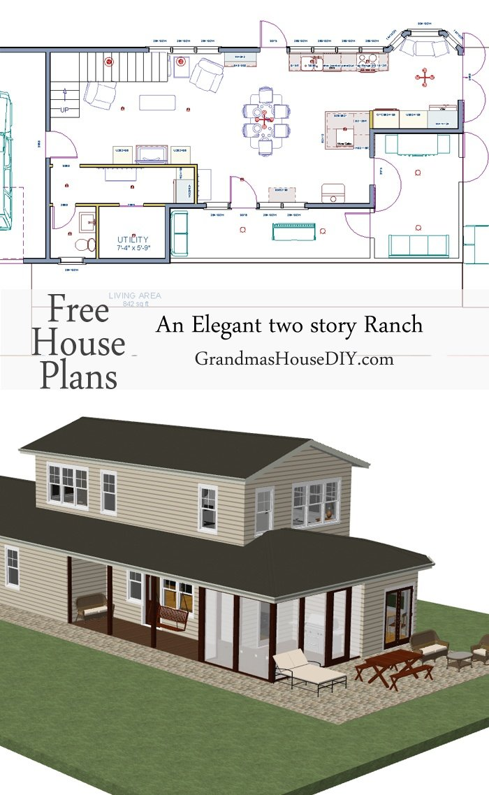 Free house plan an elegant two story ranch grandmas for Free 2 story house plans