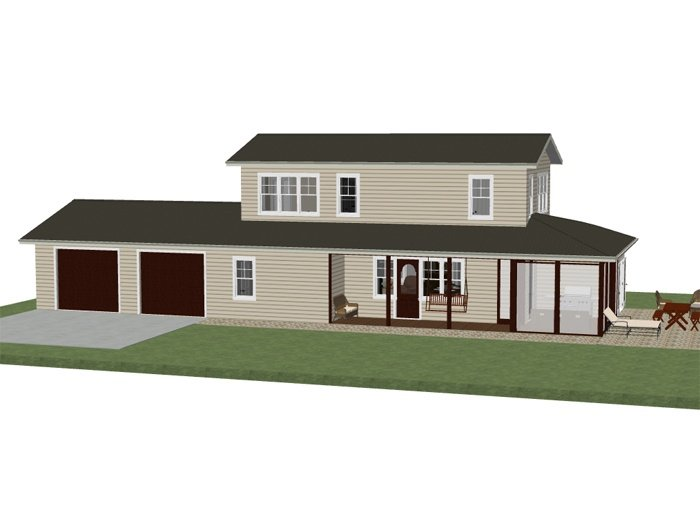 Free house plan of an elegant two story ranch, 1400 square feet with 2 3/4 baths and one 1/2 bath.