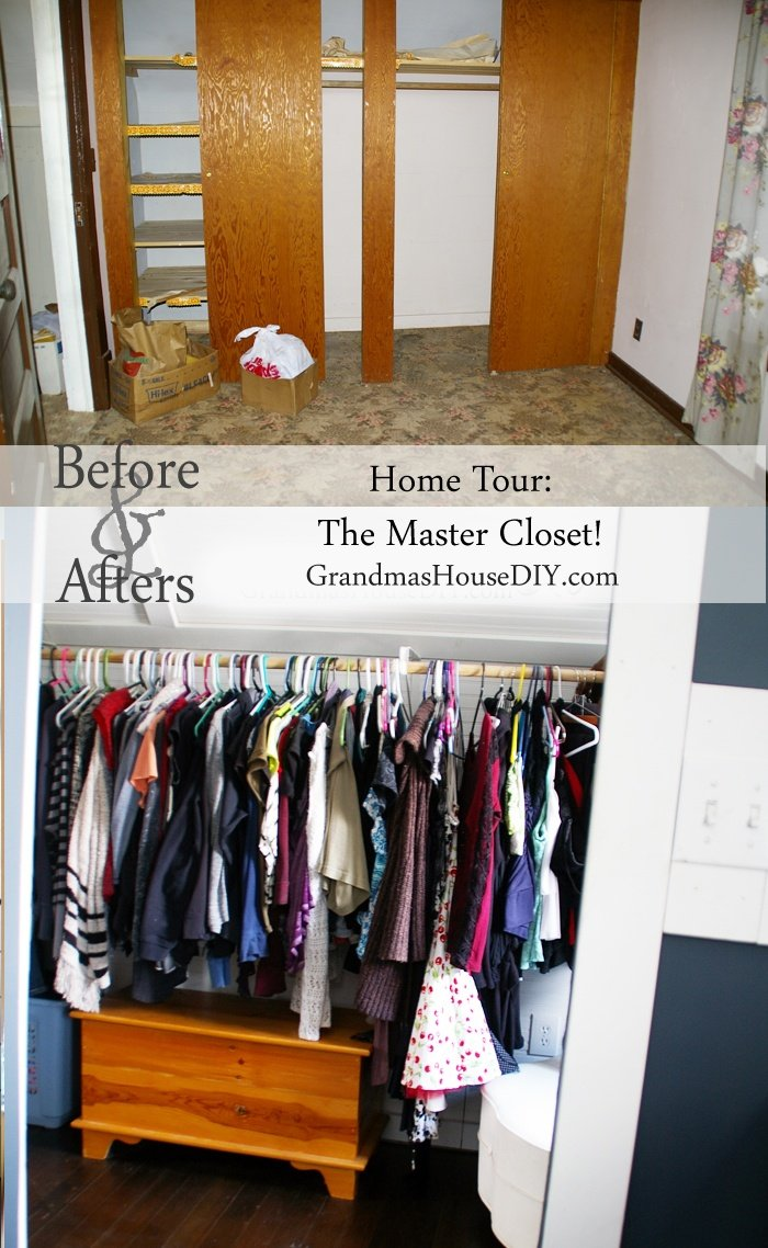 Before and after reveal of our master bedroom walk in closet!