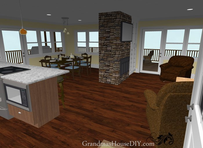 An easy going one story ranch, free house plan with two bedrooms and only 1500 square feet with room for an office and double sided fire place.