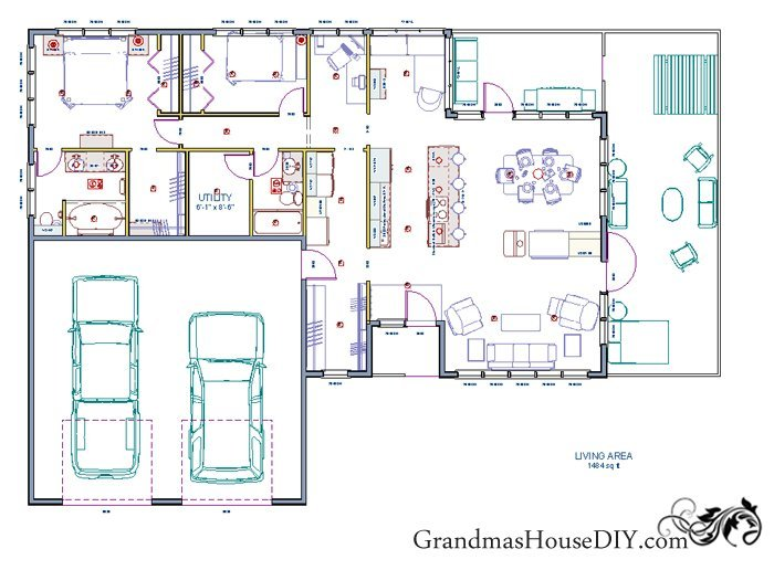Free house plan of a one story easy going ranch Free house plans