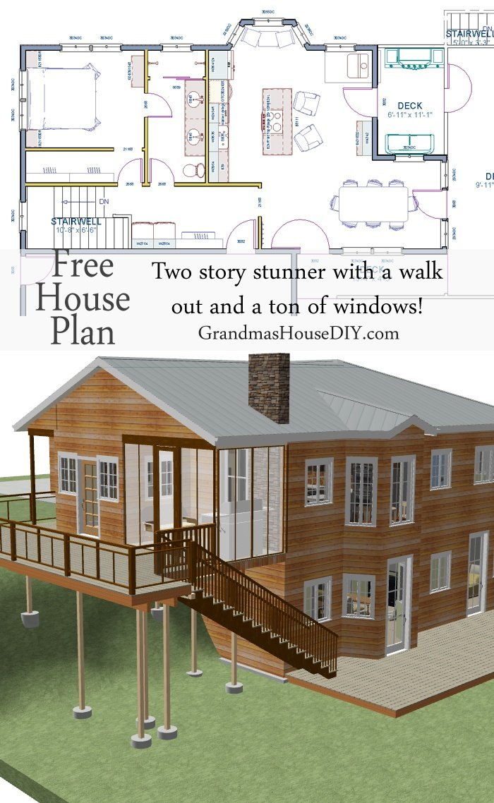 Free house plan two story with a walk out basement for Free two story house plans