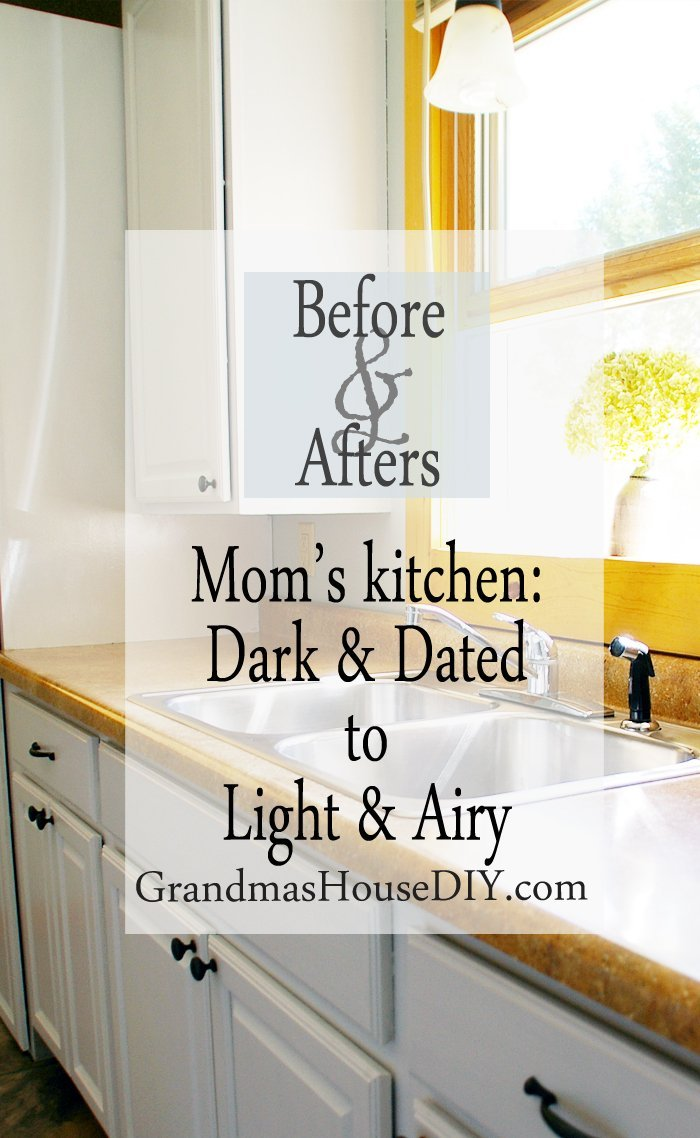 Painting out an entire dark and dated kitchen with white paint and new hardware makeover before and after diy do it yourself tutorial