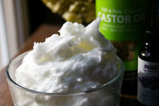 Homemade DIY recipe for body butter using lavender oil, organic coconut oil and organic castor oil - luxurious, moisturizing, fluffy, its like Heaven!