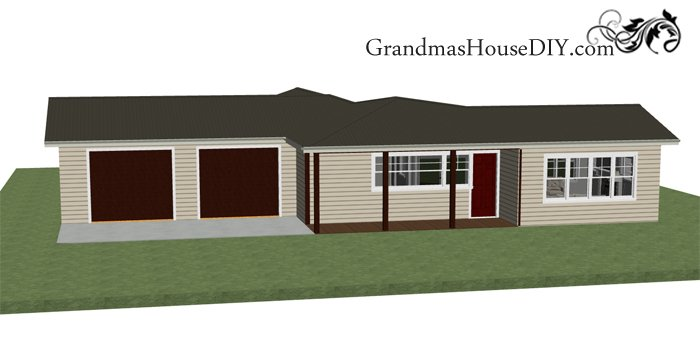 Free one story house plan, simple out front with a party deck in the back, two car garage, two bathrooms, full master suite and a country kitchen