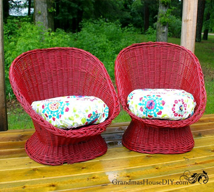 Wicker Chairs Get Red Outdoor Furniture Paint