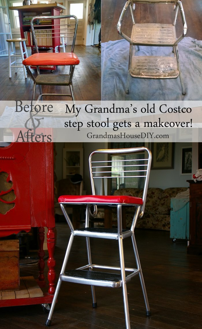 My Grandma's old Cosco step stool gets a much needed DIY makeover, before and after using chrome spray paint and red vinyl to recover the seat!