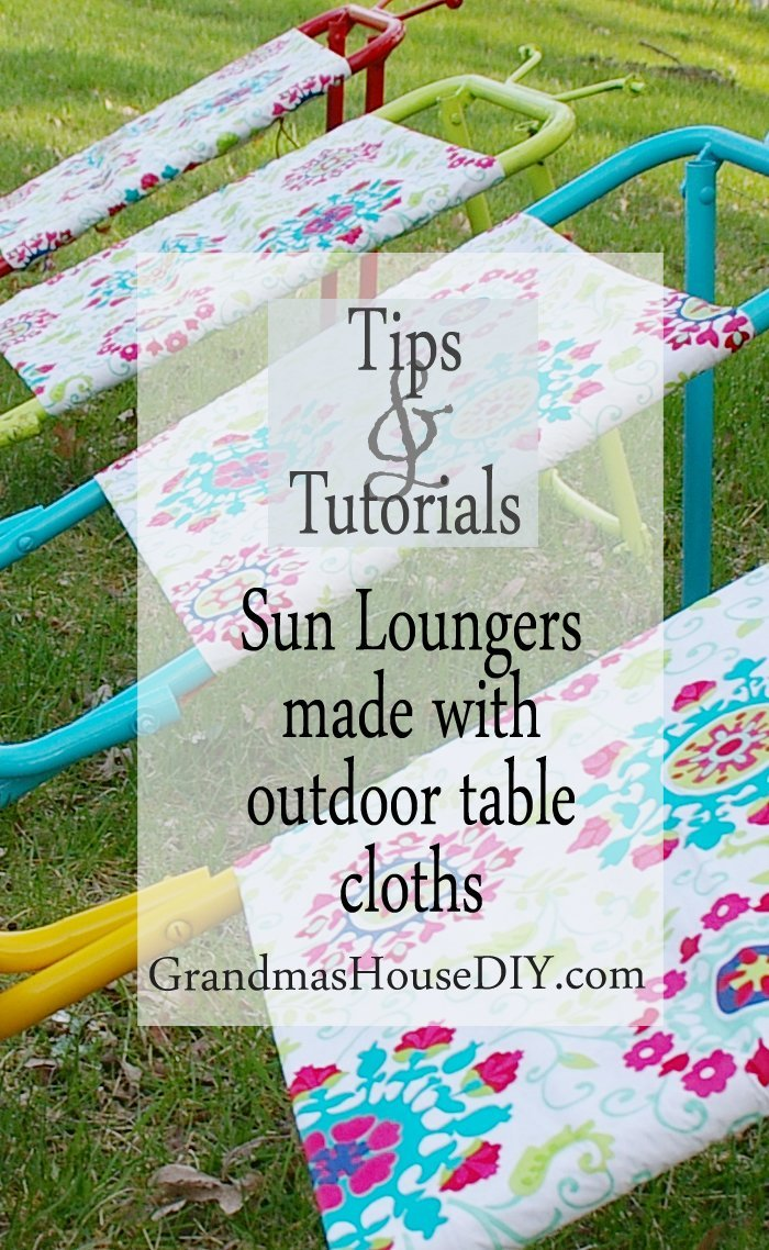 Sun loungers created diy do it yourself makeover before and after out of old goose hunting chairs with spray paint and outdoor table cloths