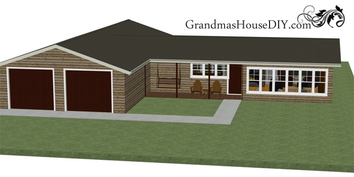 Free one story small house plan, floor plan, house plans for free, country home with a great back deck, covered front porch and a deluxe master bedroom
