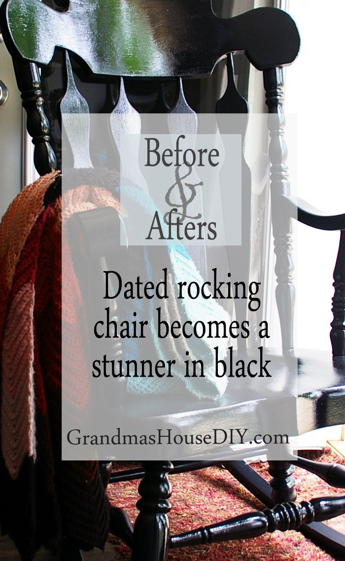 Dated rocking chair hand painted with black rustoleum 70's furniture antique diy do it yourself refinish refinished before and afters makeover