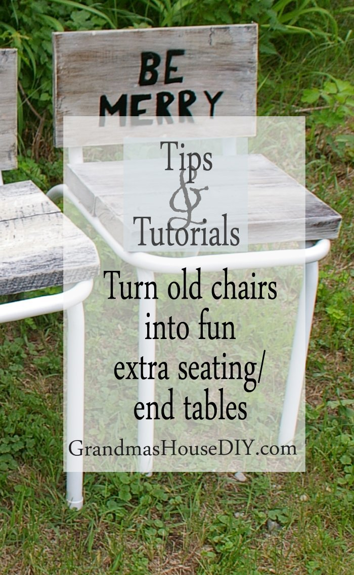 eat drink and be merry diy do it yourself tutorial turn old nasty chairs into fun extra seating and end tables using spray paint, pipe clamps and barn wood working