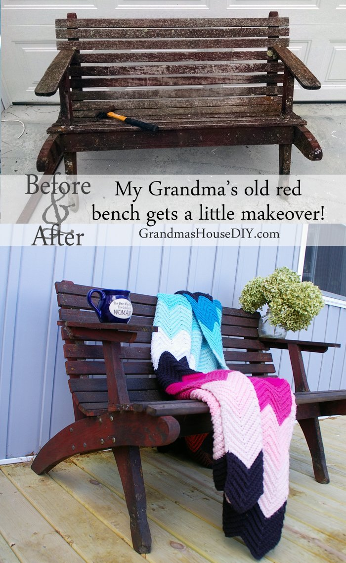 An old red bench makeover of my grandma's gets a thorough makeover with new wood, a few supporting screws and stain over the places that were showing, before and after furniture wood working.
