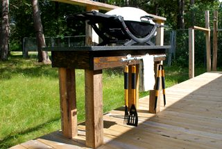 How to build an outdoor grill station with a DIY pipe rack, 4x4 posts, a black granite remnant tips and tutorials backyard how to wood working project
