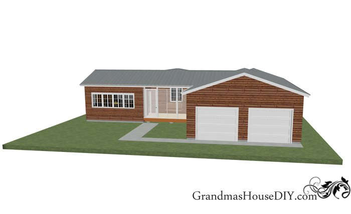 Free one story 1200 square foot house plan with a hotel-esque master suite, an eat in kitchen and a three season screened in front porch.