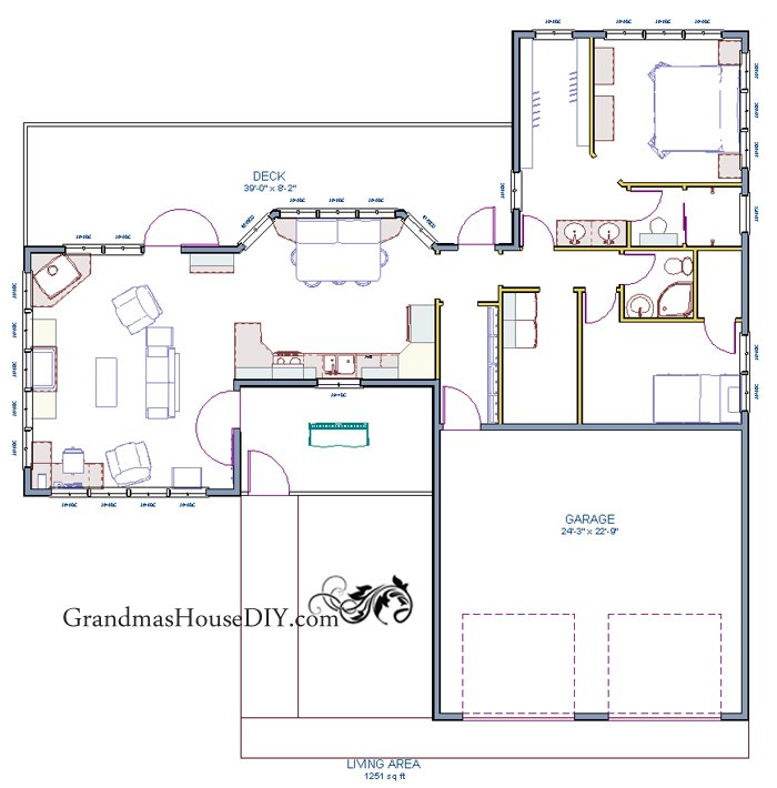 free house plan: one story with a screened in front porch