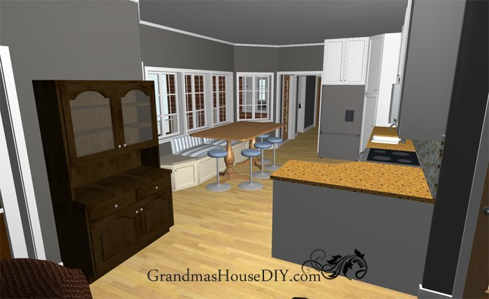 Free house plan one story with a screened in front porch for House plans with eat in kitchen