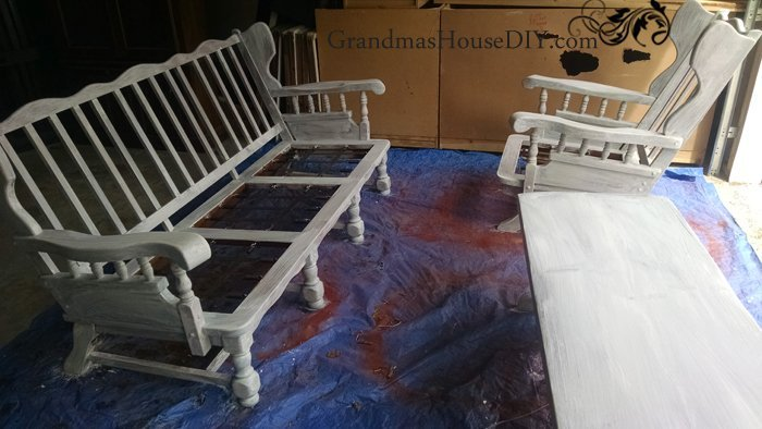 Converting indoor wooden furniture to outdoor furniture for my deck with exterior primer, exterior paint and exterior sealant, diy.