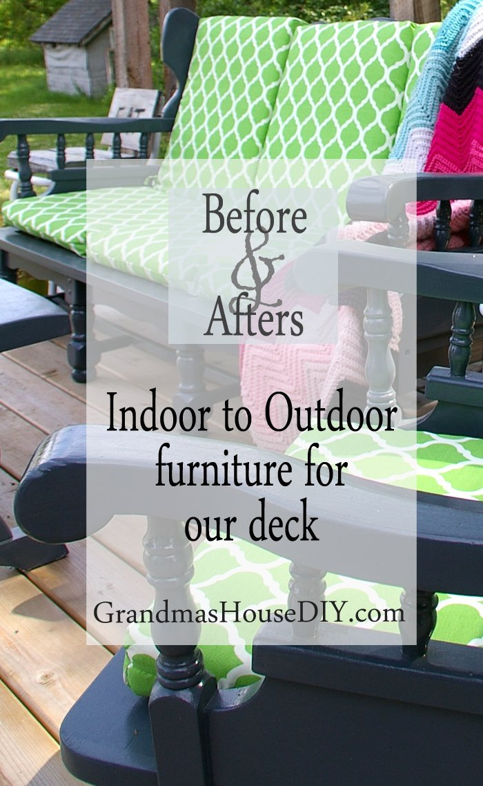 Indoor painted and refinished before and afters wood working diy do it yourself furniture converted makeover to outdoor for our deck outside backyard water proof cushions