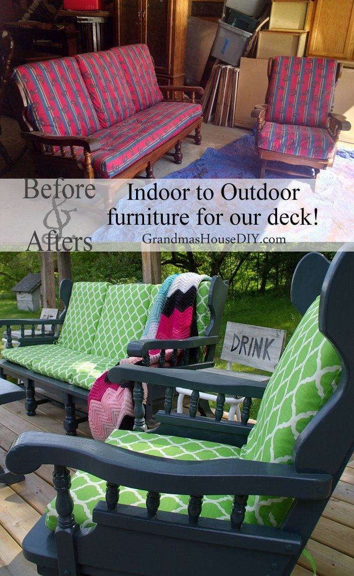 Converting indoor wooden furniture to outdoor furniture for our deck with exterior primer, exterior paint and exterior sealant, diy.
