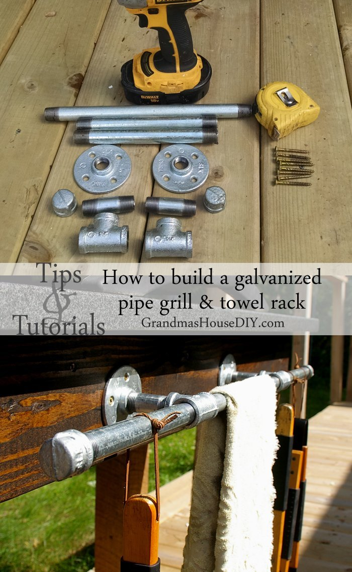 How to build an easy inexpensive galvanized pipe DIY grill and towel rack for outside on your deck or in your backyard.