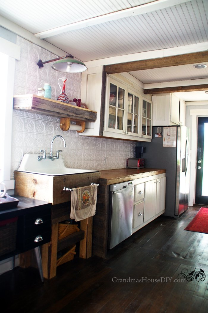 Kitchen reveal at the Grandma's House DIY home tour! 15 months of renovation, remodeling a custom country kitchen with a cast iron sink after a full gut.