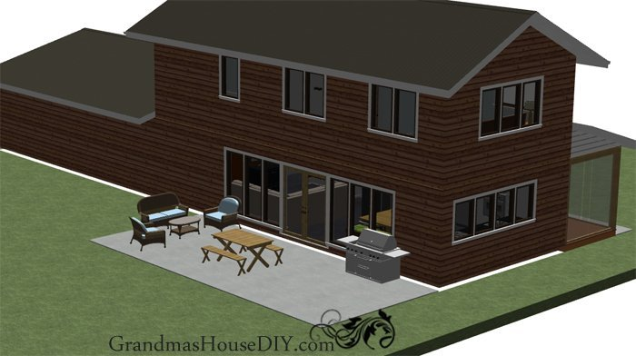 Free House Plan: Two story rambler with a huge kitchen island, just under 1300 with three bathrooms and three bedrooms and a ton of storage.