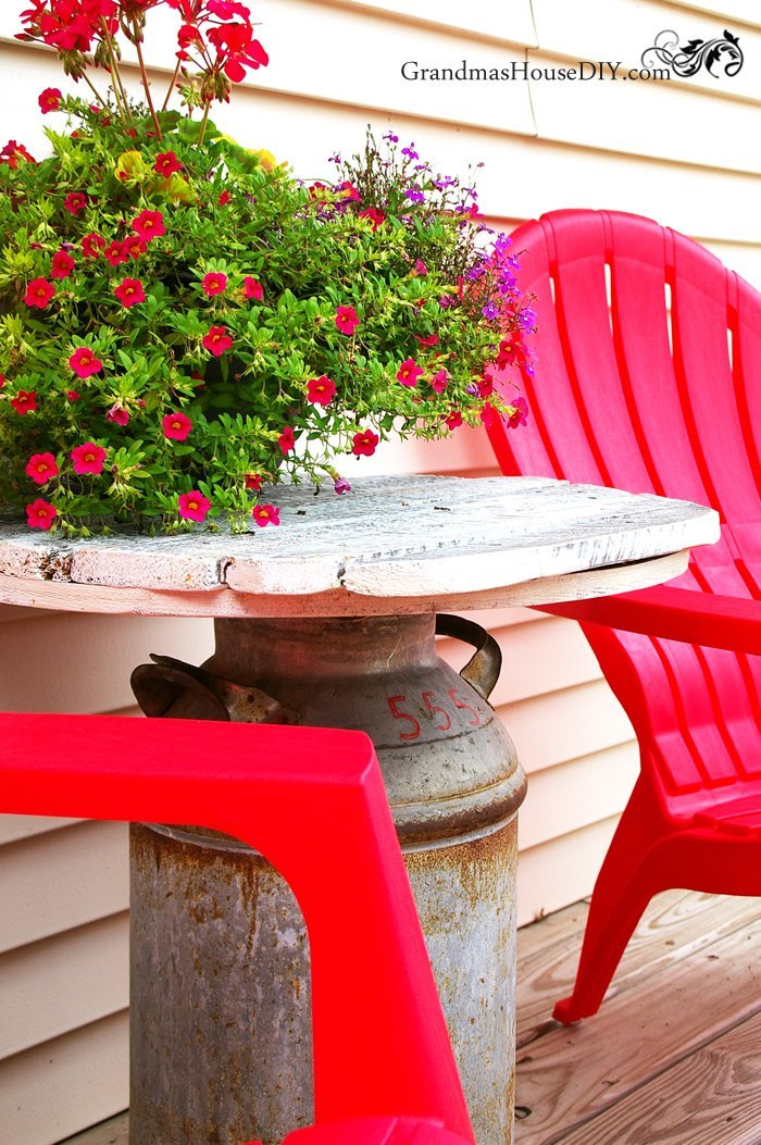 An Old Milk Can Recycle Into An Outdoor End Table