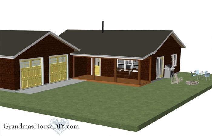 Free house plan 1 200 square foot country home grandmas for 2 car garage size square feet