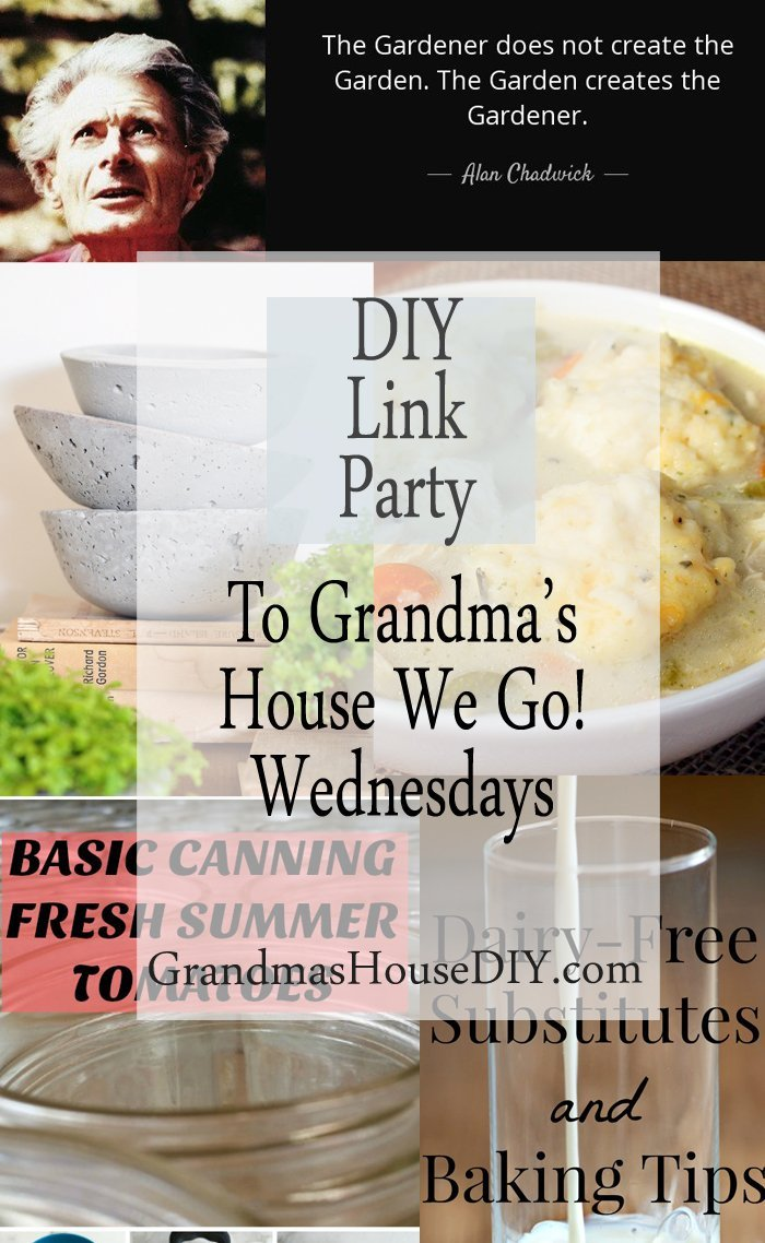 This link party is all about homemade, homemaking, DIY, recycling, upcycling, before and afters (of rooms, furniture, whatever), build projects, vintage,any kind of creative, frugal, time saving, money saving or green advice, canning and old fashioned recipes. Going back to simpler times, simpler days where we used all that we had and never bought new until there was absolutely no choice.